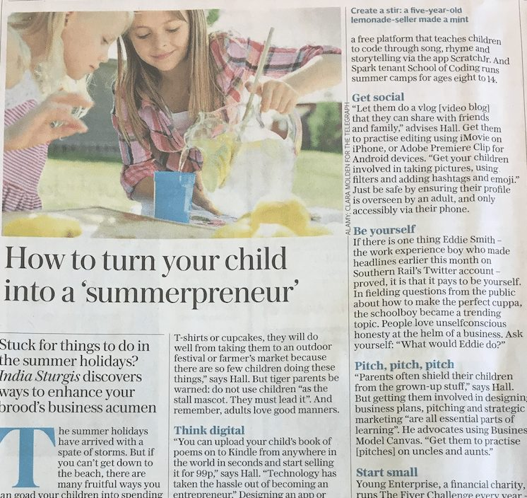How to turn your child into a 'summerpreneur' – Daily Telegraph Feature